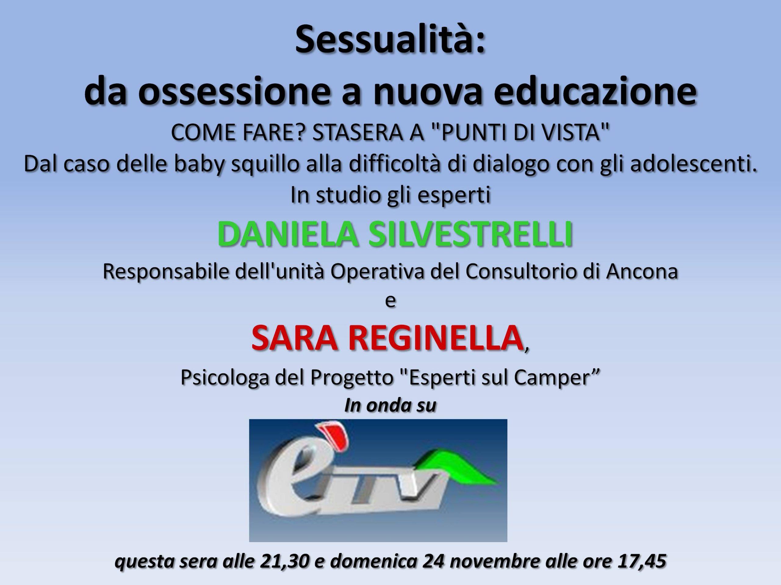 Questa sera su è Tv con Sara Reginella per parlare di sessualità in adolescenza