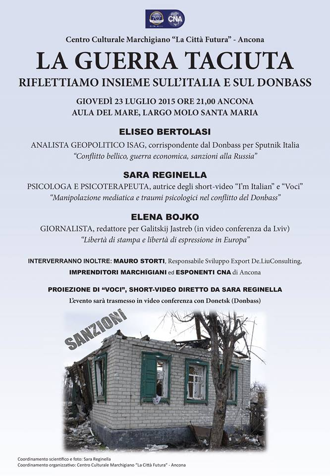 "Sara Reginella, Elena Bojko, Eliseo Bertolasi – Convegno ""La guerra taciuta"""