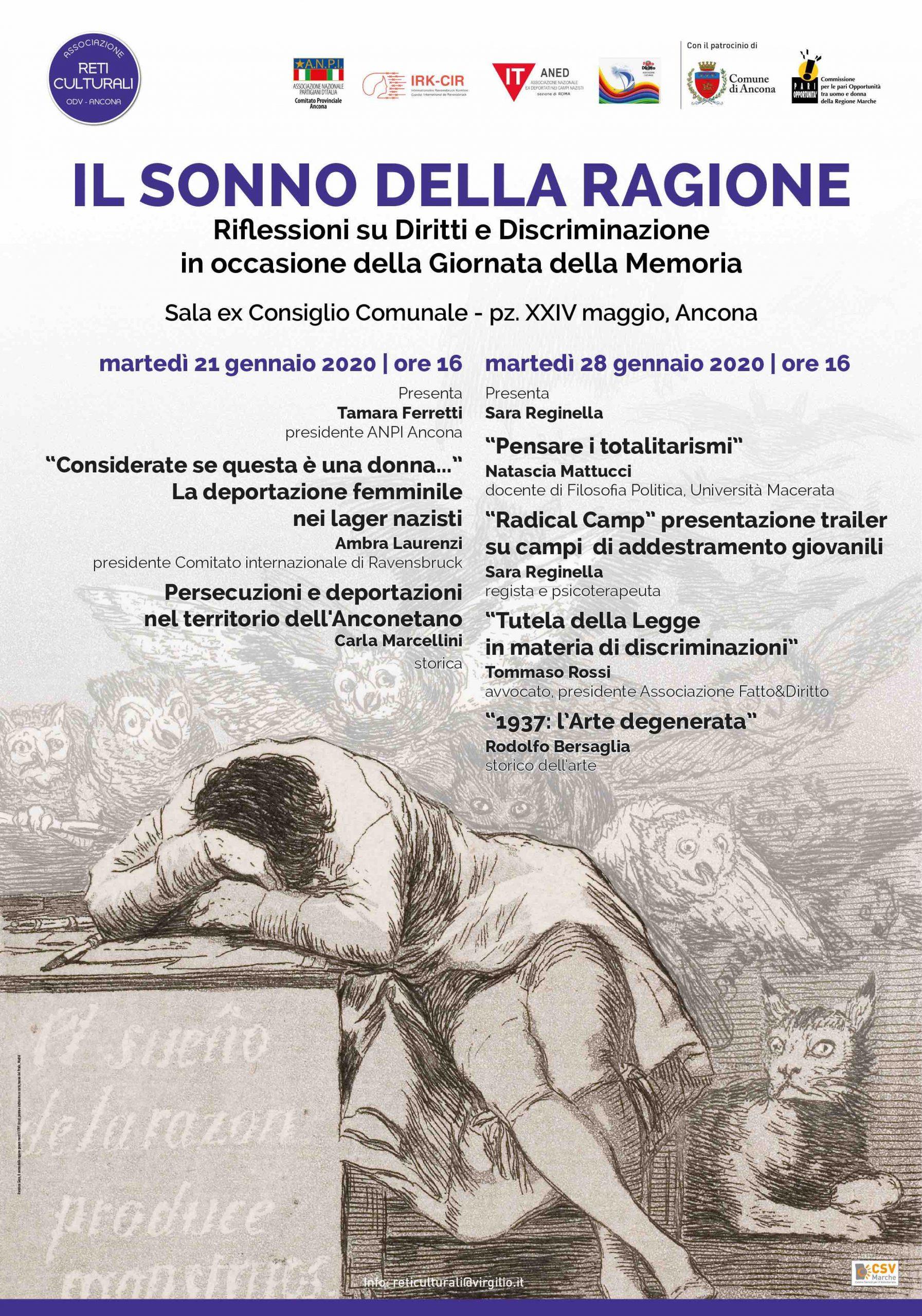 """""""Il sonno della ragione"""". Riflessione su diritti e discriminazione con Sara Reginella, Natascia Mattucci, Rodolfo Bersaglia, Tommaso Rossi, Tamara Ferretti, Carla Marcellini."""