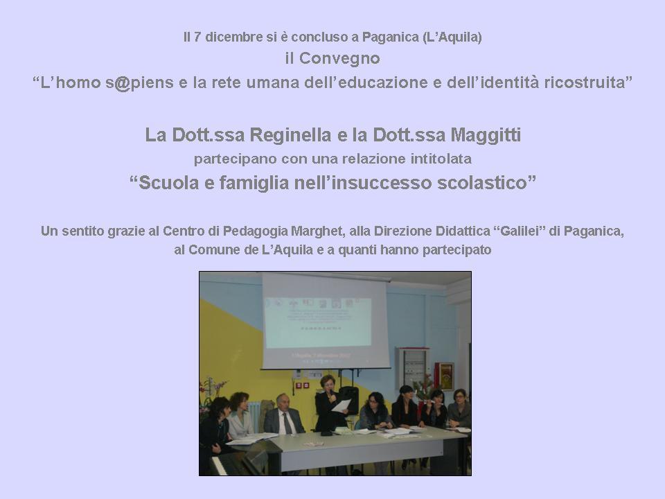 """Il 7 dicembre si è concluso a Paganica il Convegno """"Homo s@piens"""""""