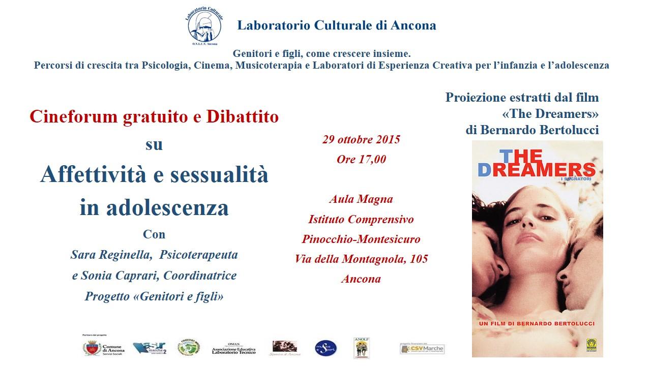 """Cineforum e dibattito su """"Sessualità e affettività in adolescenza"""" con Sara Reginella e Sonia Caprari"""