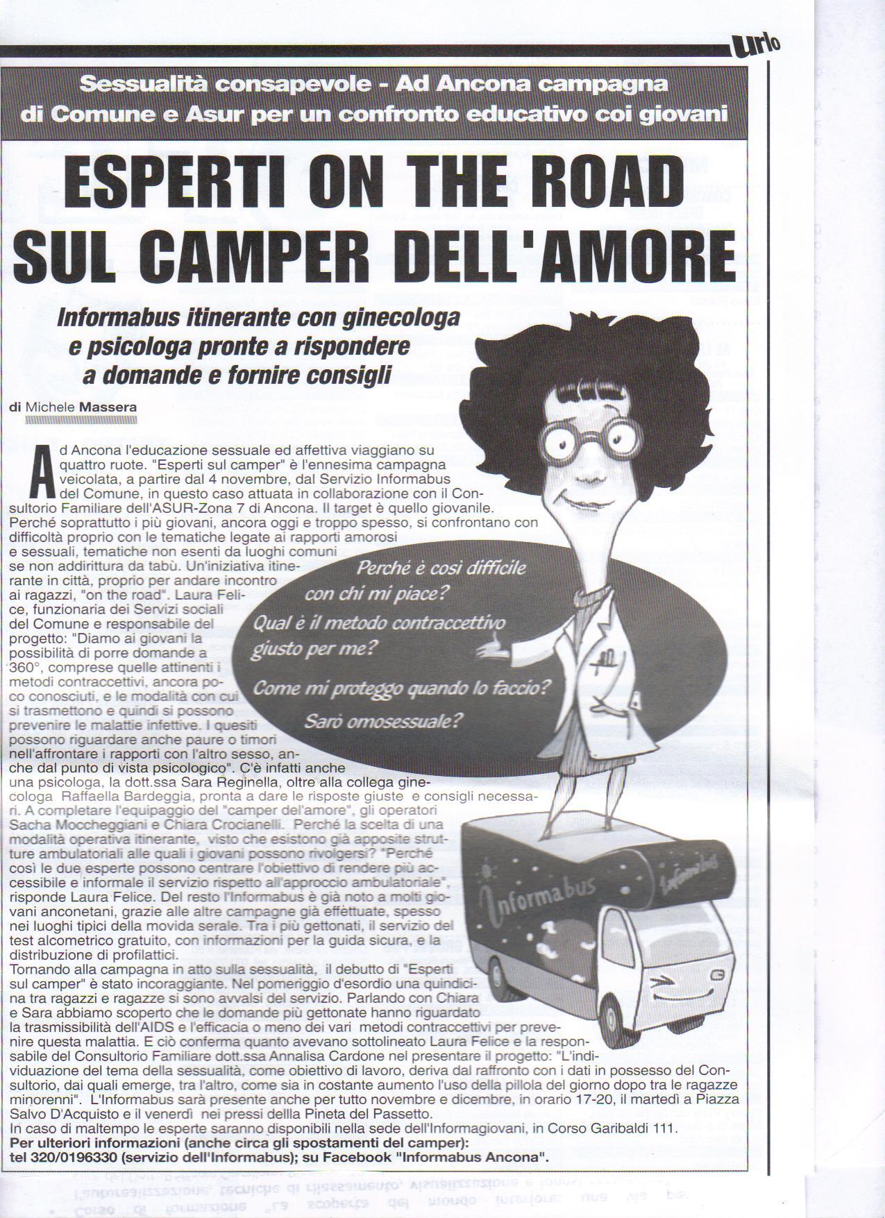 Esperti sul camper-Sessualità consapevole. Ad Ancona campagna di Comune e Asur per un confronto educativo coi giovani