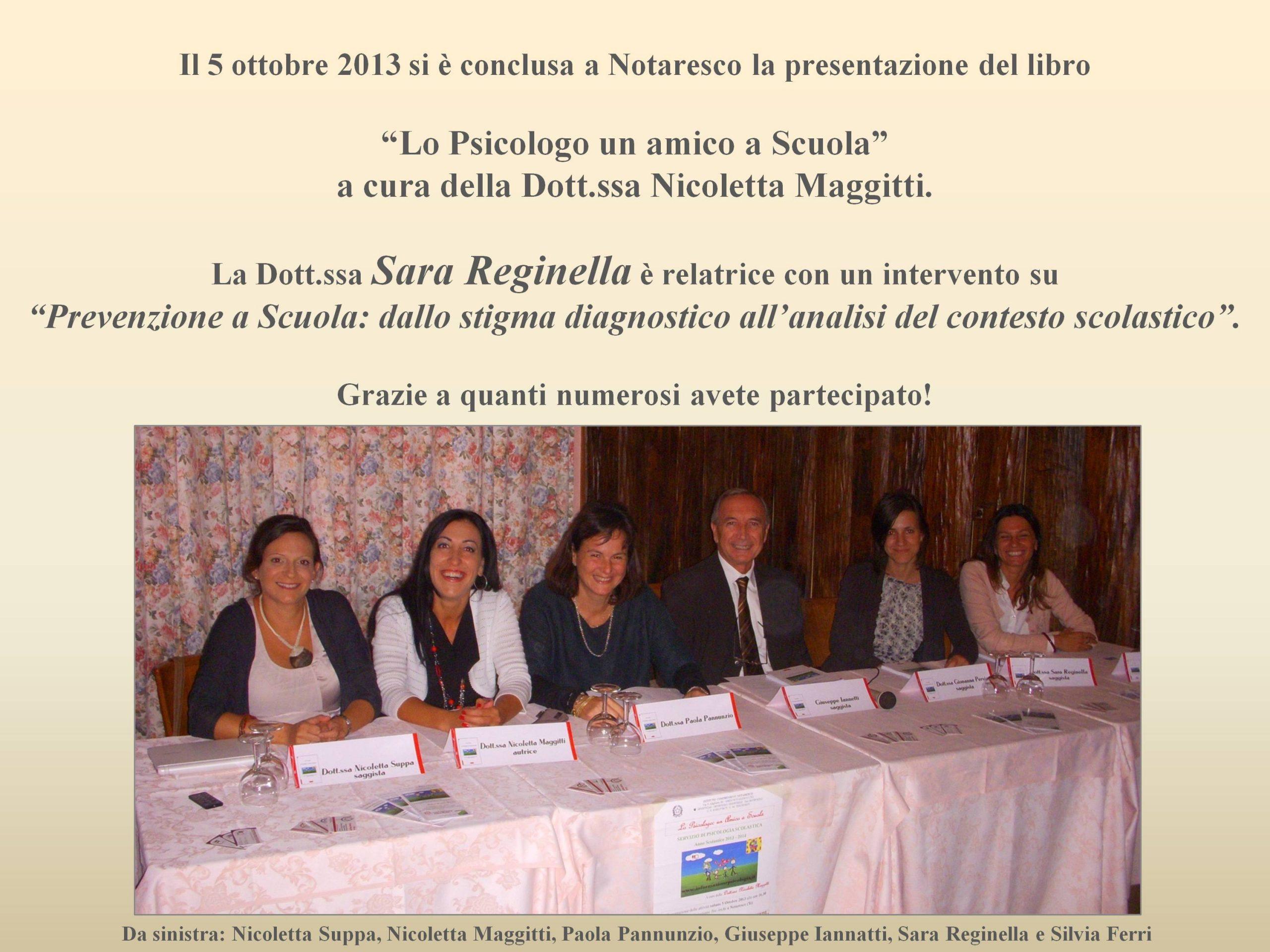 """5/10/2013 """"La prevenzione a Scuola"""" – Sara Reginella"""